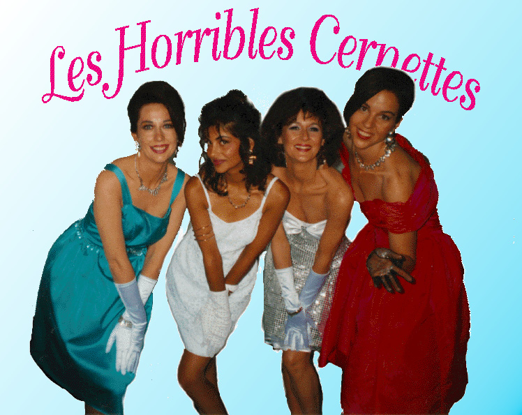 Les Horribles Cernettes was the first photographic image published on the World Wide Web in 1992. From left to right: Angela Higney, Michele de Gennaro, Colette Marx-Neilsen, Lynn Veronneau. (Wikipedia)