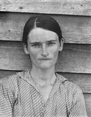 Left: Sherrie Levine, After Walker Evans, 1981; Right: Walker Evans, Alabama Tenant Farmer's Wife, 1936