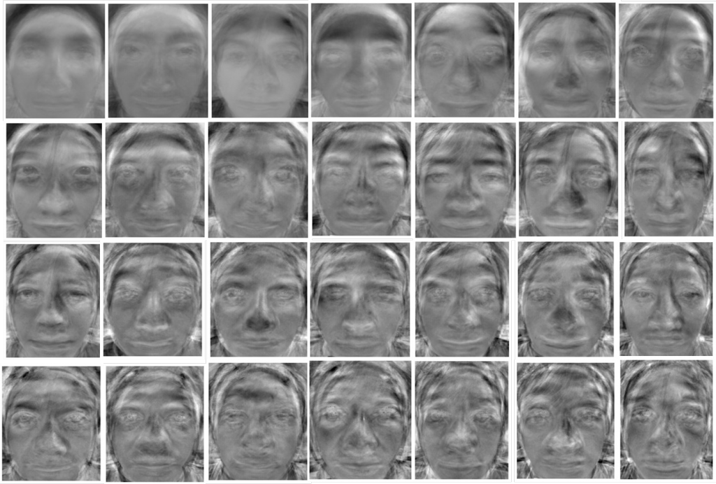 "Eigenfaces © FaceAcess at Cornell University image source: https://people.ece.cornell.edu/land/courses/ece4760/FinalProjects/s2011/bjh78_caj65/bjh78_caj65/ This image appears as an illustration in Kember's ""Ambient Intelligent Photography"", The photographic image in digital culture, Routledge, 2013 Eigenfaces is the name given to a set of eigenvectors when they are used in the computer vision problem of human face recognition."