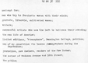 Walker Evans, 'Contempt for', typed list December 26, 1937