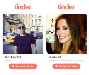 "Tinder, the mobile dating and ""hook-up"" app."