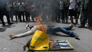 Protests by Glovo ridersafter a colleague was run over and killed, Barcelona, 27-05-2019